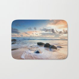 Frothy Seascape Sunset Bath Mat