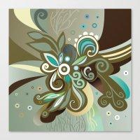 Floral curves of Joy, olive Canvas Print