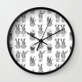 Potted Cactus Black and White Wall Clock