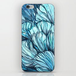 Blue Coral Lines iPhone Skin