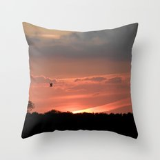 A Bird at Sunset Throw Pillow
