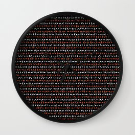 Red and White Abstract Drawn Cryptic Lines Wall Clock