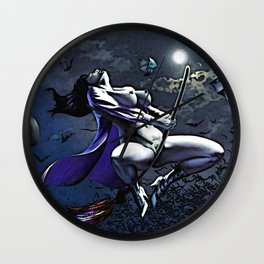 Cartoon Sexy Witch, Halloween style erotic nude, naughty curvy body woman on broom, kinky, naked Wall Clock