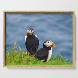 The Puffins of Mykines in the Faroe Islands VIII Serving Tray