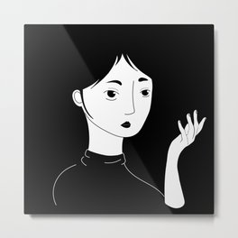 Black and White Figure Metal Print