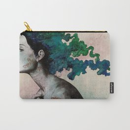 Moral Eclipse (colorful hair woman with moths tattoos) Carry-All Pouch