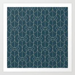 Contemporary Bowed Symmetry in Aqua Art Print
