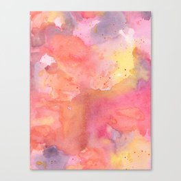 Sunset Color Palette Abstract Watercolor Painting Canvas Print