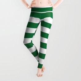 Stripes (Dark Green & White Pattern) Leggings