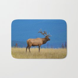 Bull elk in Jasper National Park Bath Mat
