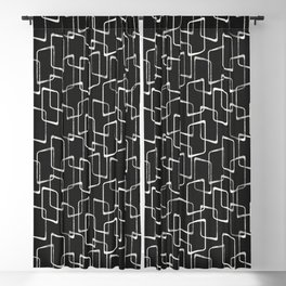 Soft Black and White Retro Geometric Pattern Blackout Curtain