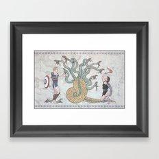 Steve, Bucky and the Hydra Framed Art Print