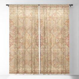 Oversized Antique Turkish Oushak Rug Print Sheer Curtain