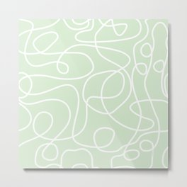 Doodle Line Art | White Lines on Palest Green Metal Print