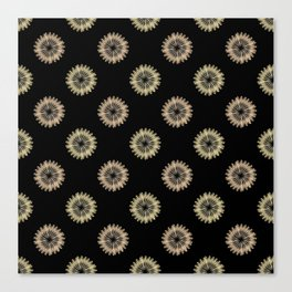 blooming floral pattern on black Canvas Print