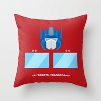 optimus prime Throw Pillows featuring Optimus Prime by IlPizza