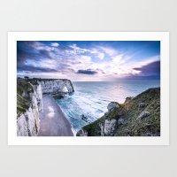 Natural Rock Arch -  ocean, coastal cliffs, waves, clouds, Art Print