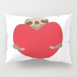 Valentines day card. Funny sloth with a red heart Pillow Sham