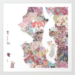 Seattle map flowers Art Print