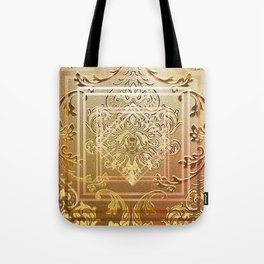 Golden vintage damask with a twist Tote Bag