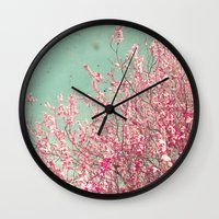 blossom Wall Clocks featuring Blossom by Cassia Beck
