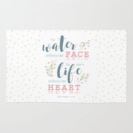 """""""Life Reflects the Heart"""" Bible Verse Print Rug"""