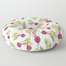 Feel the Beet in Radish White Floor Pillow