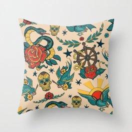 Punk Tattoo Pattern Design Throw Pillow