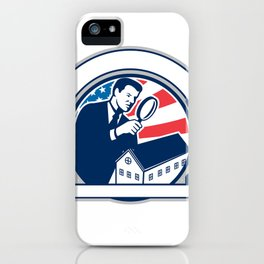 American Home Inspector USA Flag Circle Icon iPhone Case
