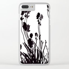 Lavendel Field Flower Abstract Black and White Markers Clear iPhone Case