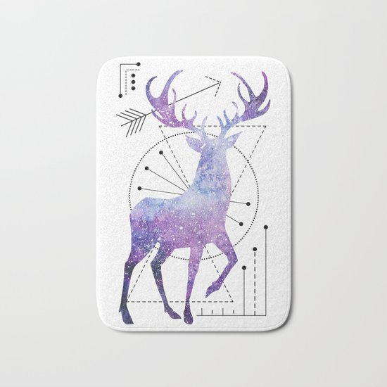 Ethnic deer and space Bath Mat