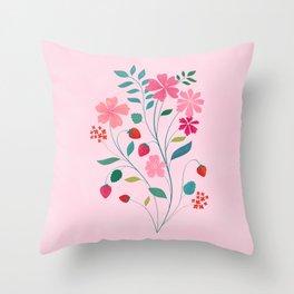 Strawberry Bouquet Throw Pillow