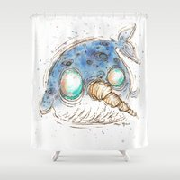 narwhal Shower Curtains featuring Narwhal by Morgan Ofsharick - meoillustration