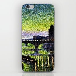 The Louvre and Pont du Carrousel at Night by Maximilian Luce iPhone Skin