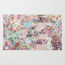 San Antonio map flowers Rug
