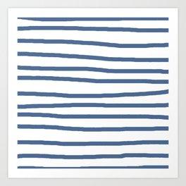 Simply Drawn Stripes in Aegean Blue and White Art Print