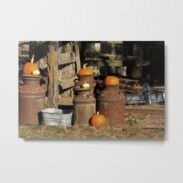Halloween Pumpkin's on Milk Cans in Kansas. Metal Print