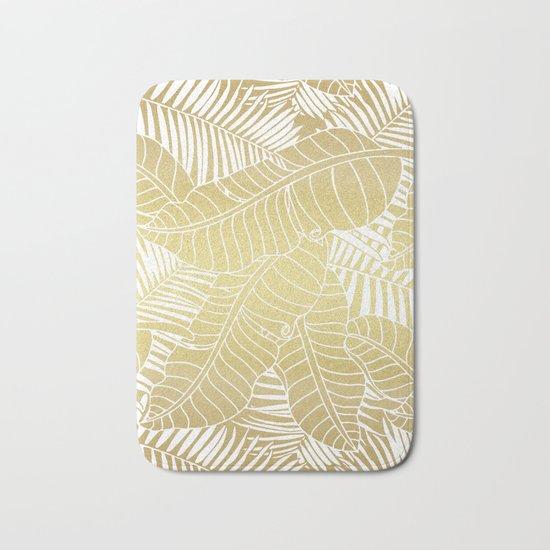 Golden tropical leaves Bath Mat