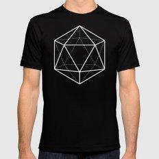 Icosahedron Soft Grey MEDIUM Black Mens Fitted Tee