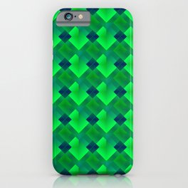 Fashionable large plaids from small green intersecting squares in a dark cage. iPhone Case