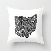 ohio Throw Pillows featuring Typographic Ohio by CAPow!