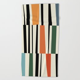 MCC Oddities II - Mid Century Modern Geometric Abstract - Blue Orange Yellow Red Beach Towel