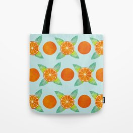 Watercolor Oranges Pattern in Blue Tote Bag