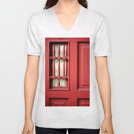 The Customary Red Door, But... Unisex V-Neck