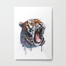 Tiger Watercolour Painting Print by Bonnie Dixson, Art, Animal Art, Home Decor Metal Print