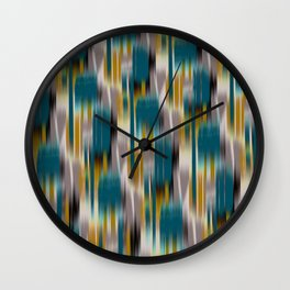 abstract ikat in dark teal and olive Wall Clock