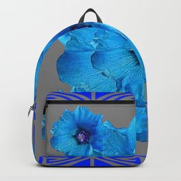 DECO BLUE HOLLYHOCKS PATTERN GREY ABSTRACT ART Backpack
