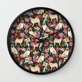 Pugs of spring floral pug dog cute pattern print florals flower garden nature dog park dog person  Wall Clock