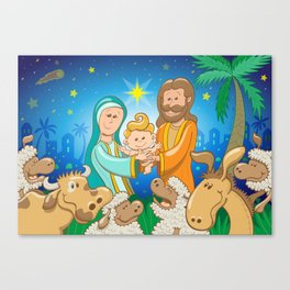 Sweet scene of the nativity of baby Jesus Canvas Print