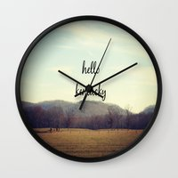 kentucky Wall Clocks featuring Hello Kentucky by KimberosePhotography